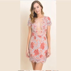 New Storia illusion lace floral dress party mesh